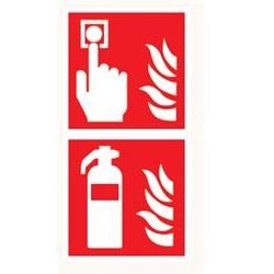 Brandmeldknop en blusser