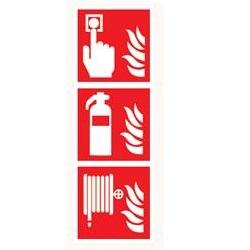 Brandmeldknop, blusser en slang