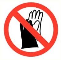 Handschoenen verboden