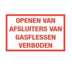 Openen afsluiters gasflessen verboden
