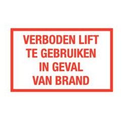 Verboden lift te gebruiken in geval van brand